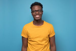 example of a man happy with straight, healthy teeth